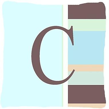 Caroline's Treasures Letter Initial Monogram Blue Stripes Indoor/Outdoor Throw Pillow; C