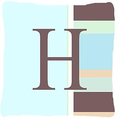 Caroline's Treasures Letter Initial Monogram Blue Stripes Indoor/Outdoor Throw Pillow; H