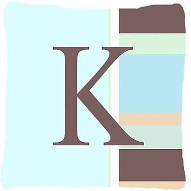 Caroline's Treasures Letter Initial Monogram Blue Stripes Indoor/Outdoor Throw Pillow; K