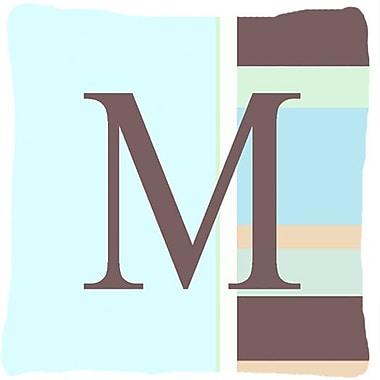 Caroline's Treasures Letter Initial Monogram Blue Stripes Indoor/Outdoor Throw Pillow; M