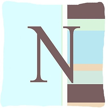 Caroline's Treasures Letter Initial Monogram Blue Stripes Indoor/Outdoor Throw Pillow; N