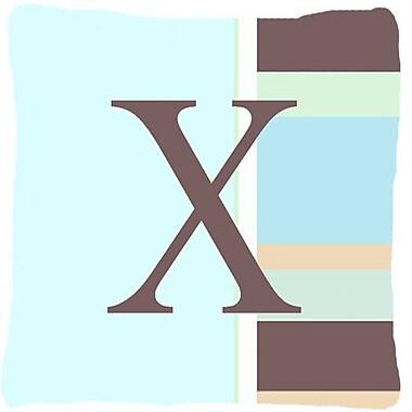 Caroline's Treasures Letter Initial Monogram Blue Stripes Indoor/Outdoor Throw Pillow; X