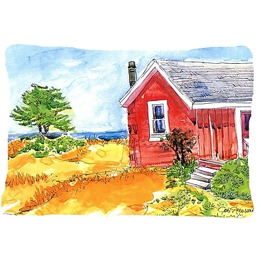 Caroline's Treasures Old Red Cottage House at The Lake or Beach Indoor/Outdoor Throw Pillow