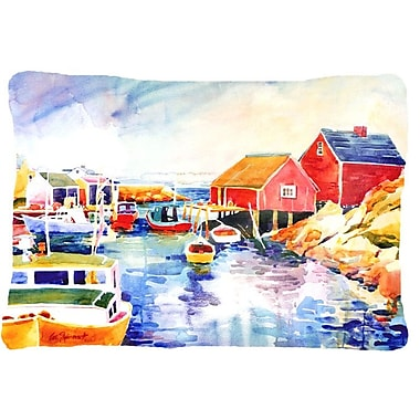Caroline's Treasures Boats at Harbour w/ A View Indoor/Outdoor Throw Pillow