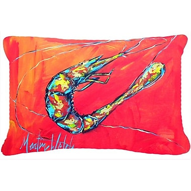Caroline's Treasures Shrimp Seafood III Indoor/Outdoor Throw Pillow; Red
