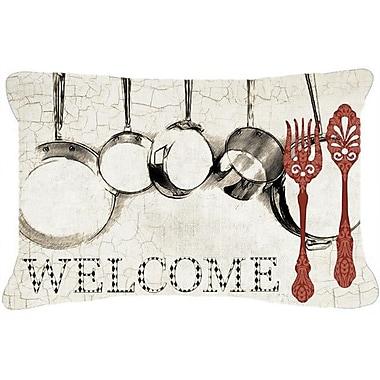 Caroline's Treasures Pots and Pans Welcome Indoor/Outdoor Throw Pillow