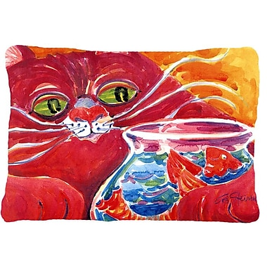 Caroline's Treasures Big Red Cat at The Fishbowl Indoor/Outdoor Throw Pillow