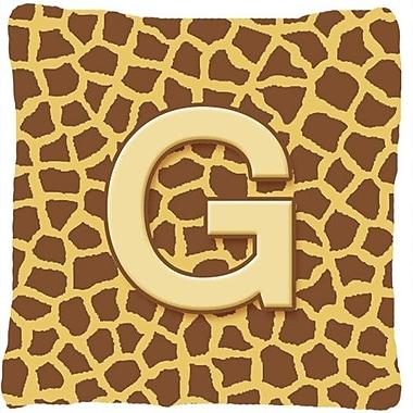Caroline's Treasures Monogram Initial Giraffe Indoor/Outdoor Throw Pillow; G