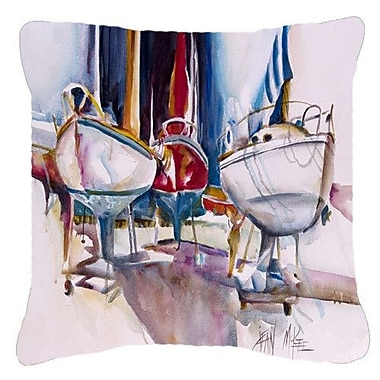 Caroline's Treasures Dry Dock Sailboats Indoor/Outdoor Throw Pillow; 18'' H x 18'' W x 5.5'' D