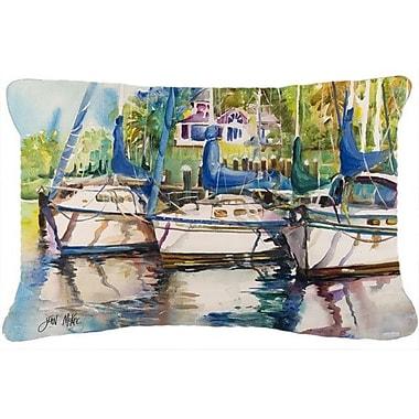 Caroline's Treasures Safe Harbour Sailboats Indoor/Outdoor Throw Pillow
