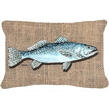 Caroline's Treasures Fish Speckled Trout Indoor/Outdoor Throw Pillow