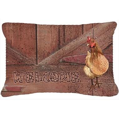 Caroline's Treasures Welcome Chicken Indoor/Outdoor Throw Pillow