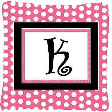Caroline's Treasures Letter Initial Monogram Pink Black Polka Dots Indoor/Outdoor Throw Pillow; K