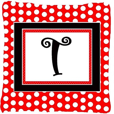 Caroline's Treasures Monogram Initial Red Black Polka Dots Indoor/Outdoor Throw Pillow; T