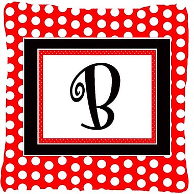 Caroline's Treasures Monogram Initial Red Black Polka Dots Indoor/Outdoor Throw Pillow; B