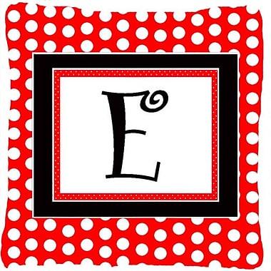 Caroline's Treasures Monogram Initial Red Black Polka Dots Indoor/Outdoor Throw Pillow; E