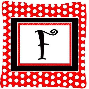 Caroline's Treasures Monogram Initial Red Black Polka Dots Indoor/Outdoor Throw Pillow; F