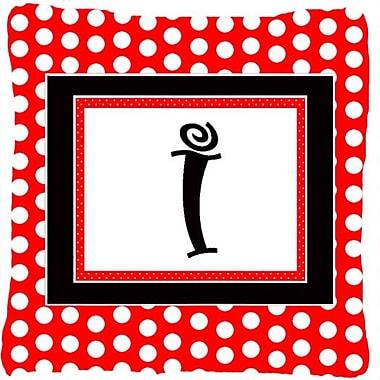 Caroline's Treasures Monogram Initial Red Black Polka Dots Indoor/Outdoor Throw Pillow; I