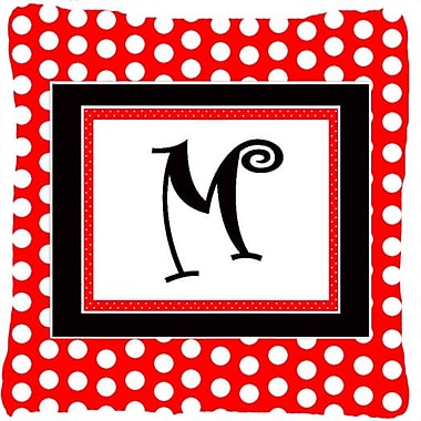 Caroline's Treasures Monogram Initial Red Black Polka Dots Indoor/Outdoor Throw Pillow; M