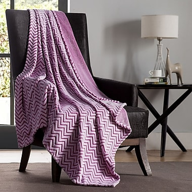 VCNY Chevron Two Tone Polyester Throw Blanket; Pink