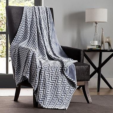 VCNY Chevron Two Tone Polyester Throw Blanket; Blue