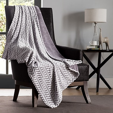 VCNY Chevron Two Tone Polyester Throw Blanket; Burgundy