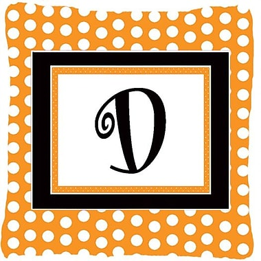 Caroline's Treasures Monogram Initial Orange Polkadots Indoor/Outdoor Throw Pillow; D