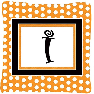 Caroline's Treasures Monogram Initial Orange Polkadots Indoor/Outdoor Throw Pillow; I