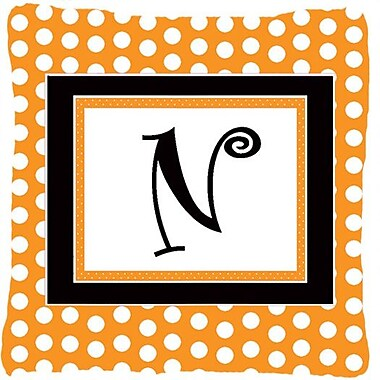 Caroline's Treasures Monogram Initial Orange Polkadots Indoor/Outdoor Throw Pillow; N
