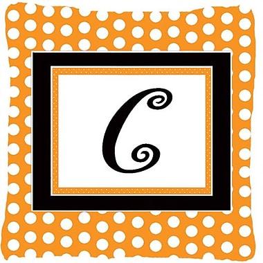 Caroline's Treasures Monogram Initial Orange Polkadots Indoor/Outdoor Throw Pillow; C