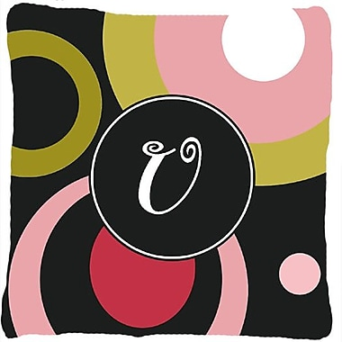 Caroline's Treasures Monogram Retro in Black Indoor/Outdoor Throw Pillow; U