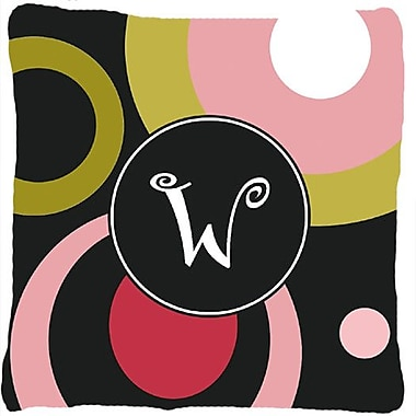 Caroline's Treasures Monogram Retro in Black Indoor/Outdoor Throw Pillow; W