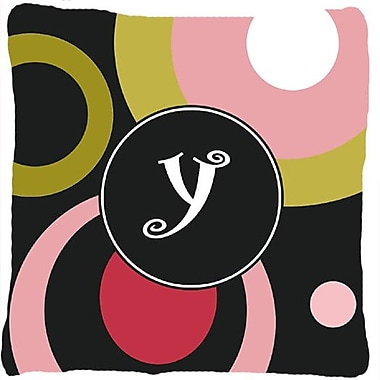 Caroline's Treasures Monogram Retro in Black Indoor/Outdoor Throw Pillow; Y