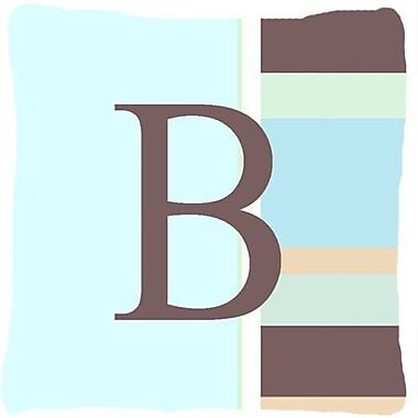 Caroline's Treasures Letter Initial Monogram Blue Stripes Indoor/Outdoor Throw Pillow; B