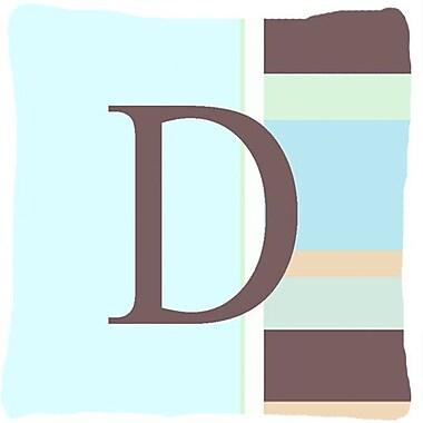 Caroline's Treasures Letter Initial Monogram Blue Stripes Indoor/Outdoor Throw Pillow; D