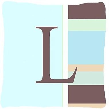 Caroline's Treasures Letter Initial Monogram Blue Stripes Indoor/Outdoor Throw Pillow; L