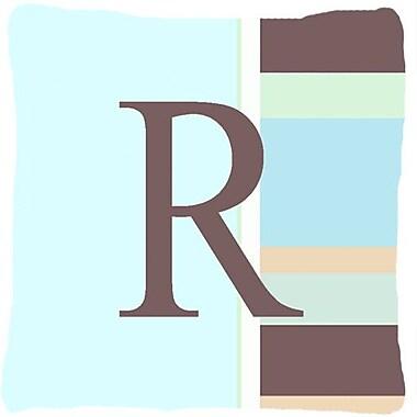 Caroline's Treasures Letter Initial Monogram Blue Stripes Indoor/Outdoor Throw Pillow; R
