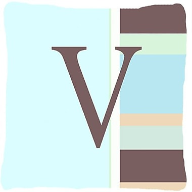 Caroline's Treasures Letter Initial Monogram Blue Stripes Indoor/Outdoor Throw Pillow; V