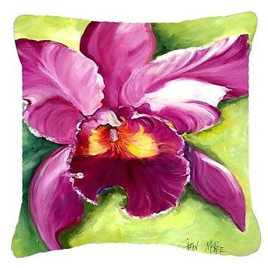 Caroline's Treasures Orchid Indoor/Outdoor Throw Pillow; 14'' H x 14'' W x 4'' D