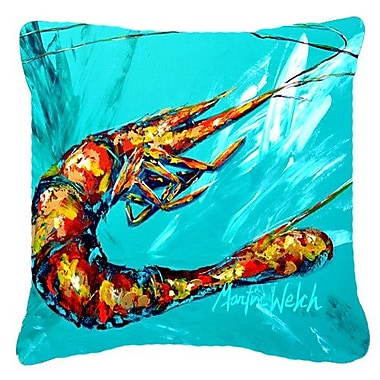 Caroline's Treasures Shrimp Splish Splash Indoor/Outdoor Throw Pillow; 14'' H x 14'' W x 4'' D