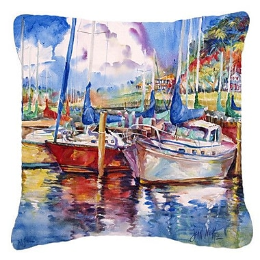 Caroline's Treasures Tree Boats Sailboats Indoor/Outdoor Throw Pillow; 14'' H x 14'' W x 4'' D