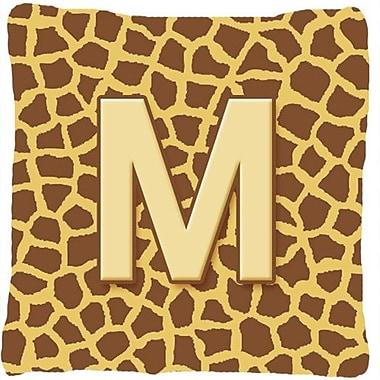 Caroline's Treasures Monogram Initial Giraffe Indoor/Outdoor Throw Pillow; M