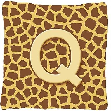 Caroline's Treasures Monogram Initial Giraffe Indoor/Outdoor Throw Pillow; Q