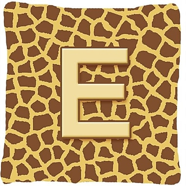 Caroline's Treasures Monogram Initial Giraffe Indoor/Outdoor Throw Pillow; E