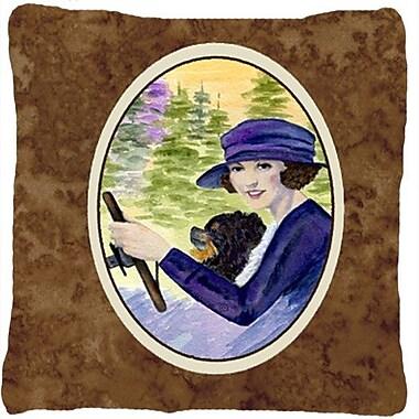 Caroline's Treasures Lady Driving w/ Her Pomeranian Indoor/Outdoor Throw Pillow