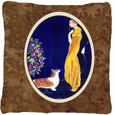 Caroline's Treasures Lady w/ Her Corgi Indoor/Outdoor Throw Pillow