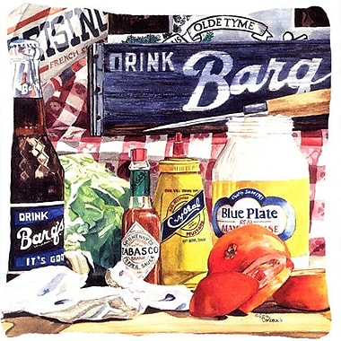 Caroline's Treasures Blue Plate Mayonaise, Barq's A Tomato Sandwich Indoor/Outdoor Throw Pillow