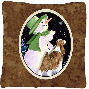 Caroline's Treasures Snowman w/ Springer Spaniel Indoor/Outdoor Throw Pillow