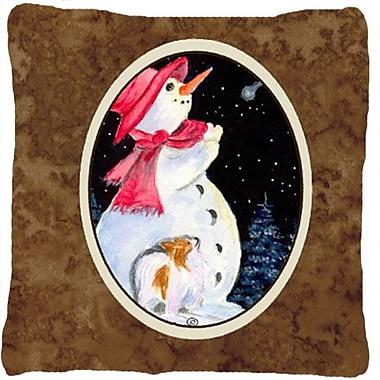 Caroline's Treasures Snowman w/ Papillion Indoor/Outdoor Throw Pillow