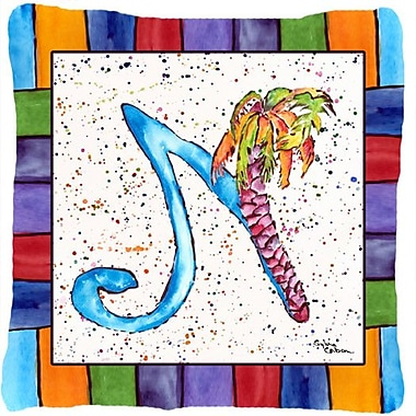 Caroline's Treasures Beach and Seafood Monogram Indoor/Outdoor Throw Pillow; N